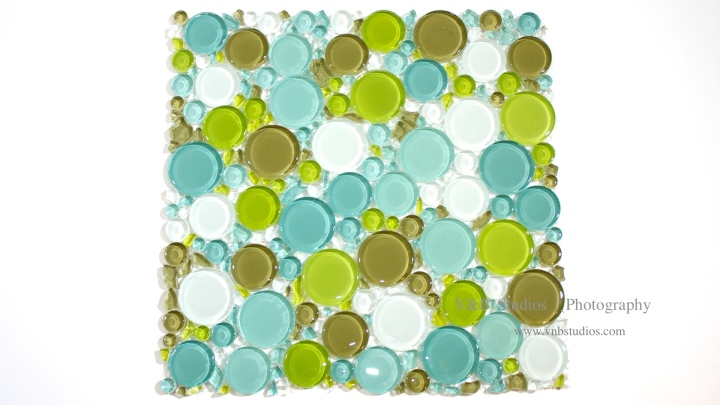 Bubble Glass Mosaic Tile in Mix Blue Green at TileDaily