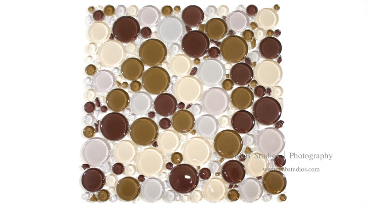 Bubble Glass Mosaic Tile in Mix Brown at TileDaily