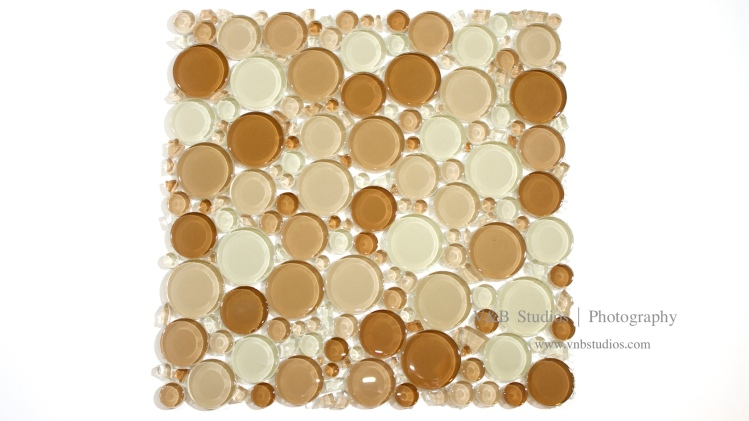 Bubble Glass Mosaic Tile in Mix Beige at TileDaily