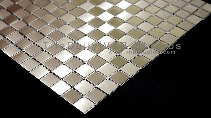 Small Square Brushed Steel Mosaic Tile