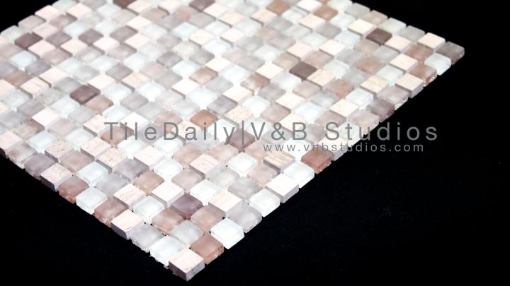 Small Square Glass And Limestone Mosaic, MixBeige