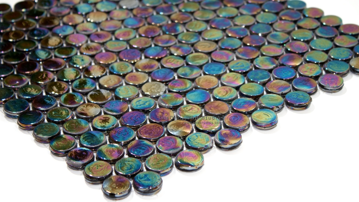 Penny Round Iridescent Glass Mosaic Tiledaily
