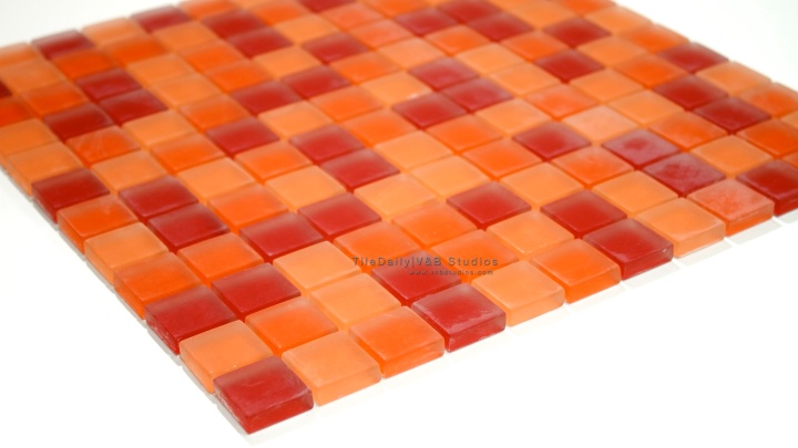 Orange Frost Square GlassMosaic