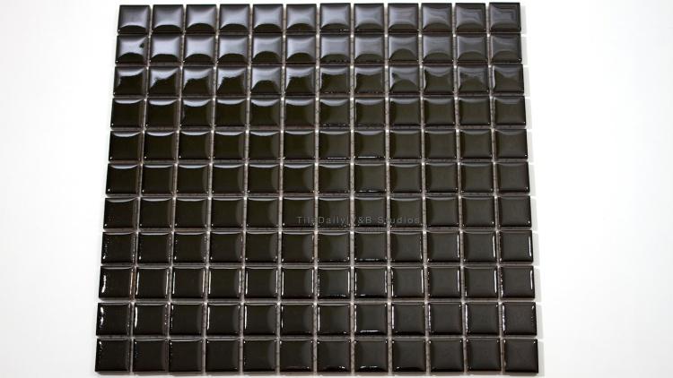 1x1 Square Glossy Black Porcelain Mosaic Tile