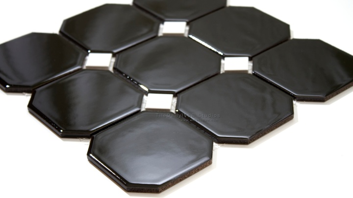4x4 Octagon Porcelain Mosaic with black insert available at TileDaily