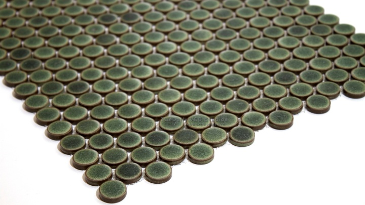 Rustic Green Penny RoundMosaic