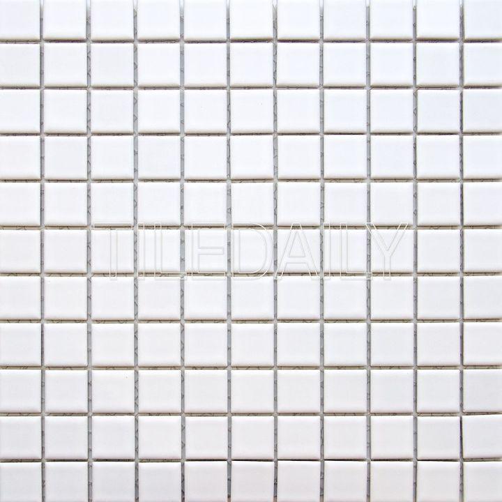 1x1 Square Matte White Porcelain Mosaic Tile