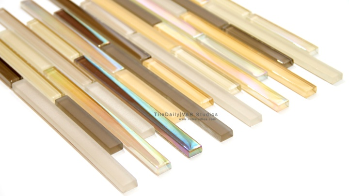 Iridescent Linear Brick Glass Mosaic, 2 Colors