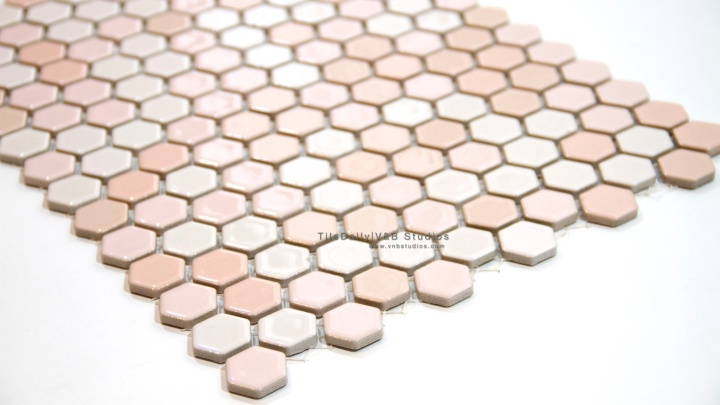 Powder Blue and Pink Porcelain Hex Series