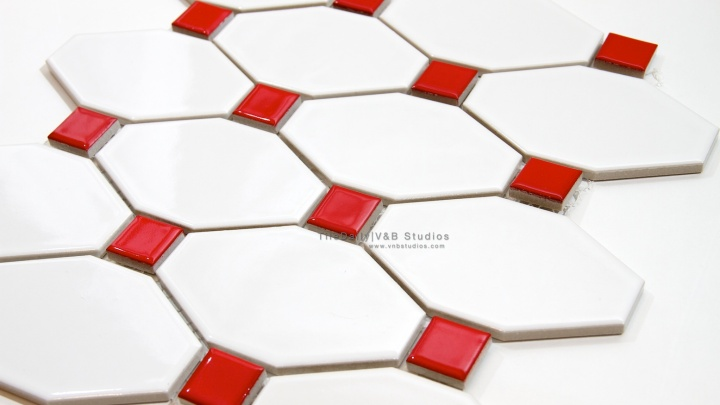 Long Octagon Porcelain Mosaic, White and Red