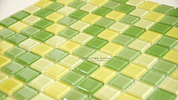 Thin Square Glass Mosaic, GreenMix