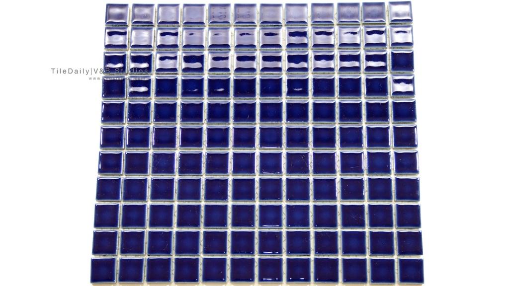 1x1 Navy Blue Square Porcelain Mosaic Tile available at TileDaily
