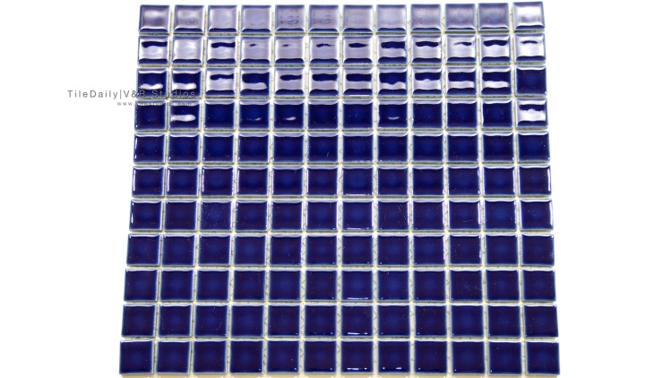 1x1 Navy Blue Square Porcelain Mosaic Tile available at TileDaily