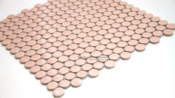Soft Pink Penny Round Porcelain Mosaic