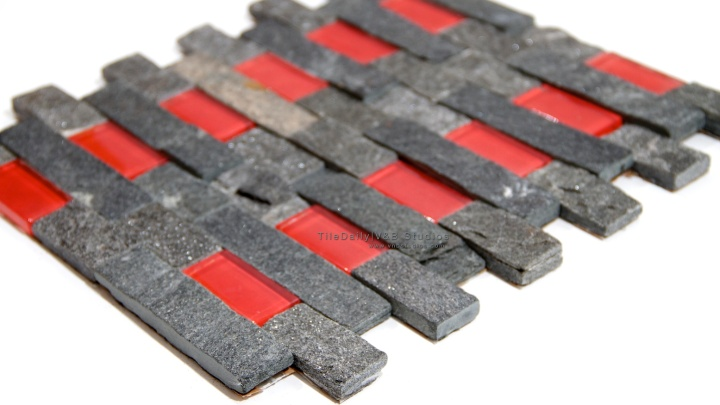 Black Quartz Red Glass SplitfaceMosaic