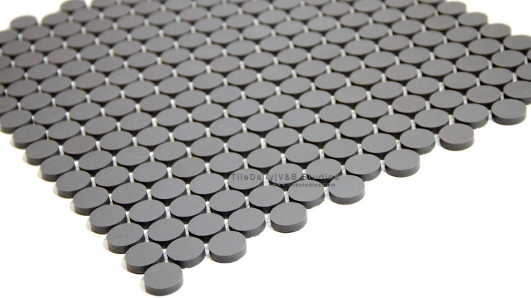 Matte Penny Round Porcelain Mosaic, Dark Grey at TileDaily