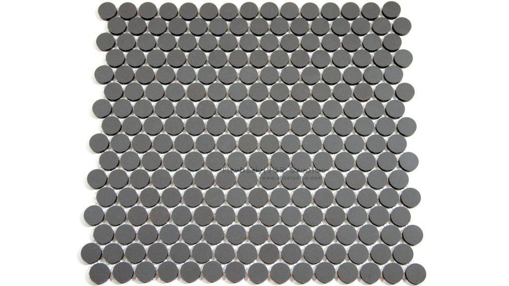 Matte Penny Round Porcelain Tile, Dark Grey at TileDaily