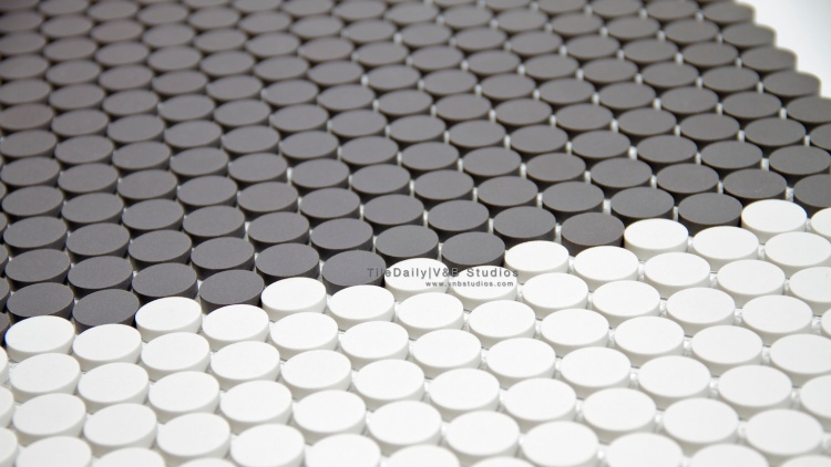 Matte Penny Round Porcelain Mosaic Tile, Dark Grey and White at TileDaily