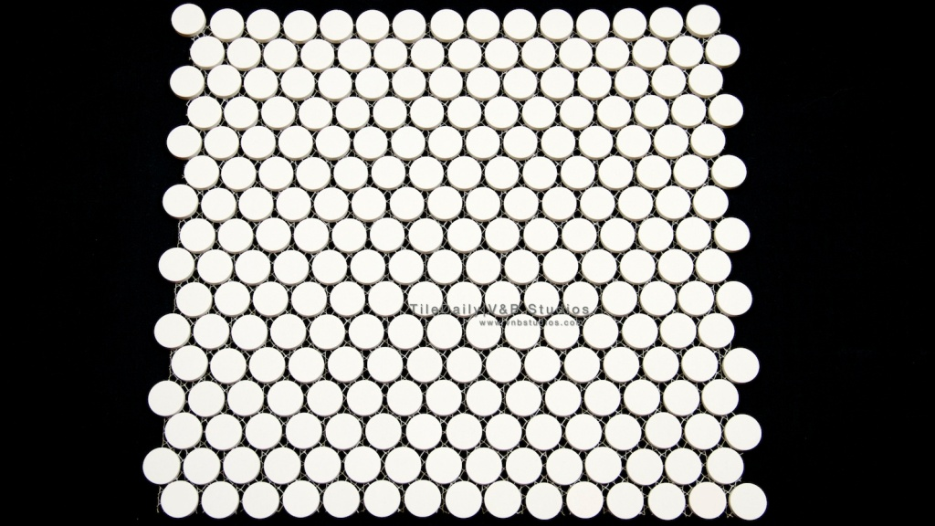 Matte Penny Round Porcelain Mosaic, White at TileDaily