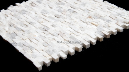 Quartz Brick Splitface Mosaic, White