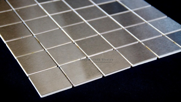 Square Brushed Steel Mosaic Tiledaily