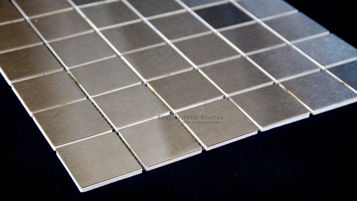 Large Square Brushed Steel Mosaic