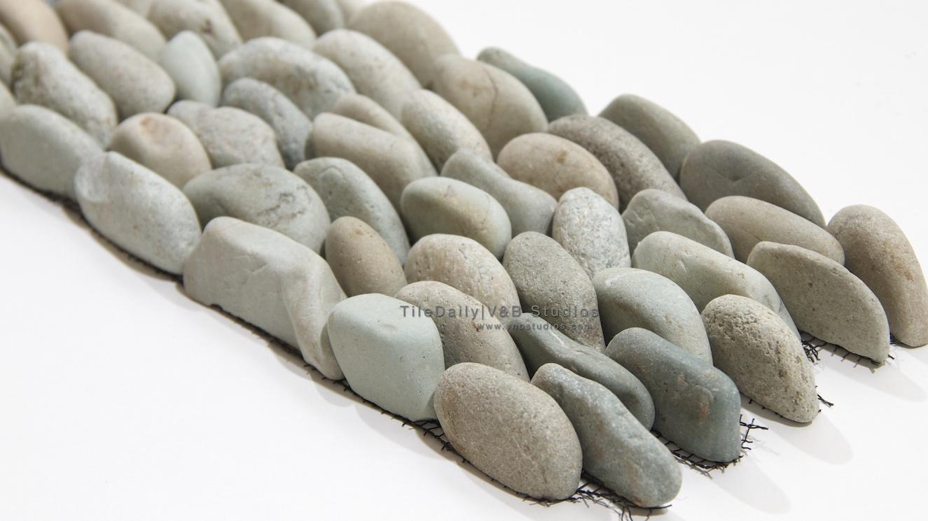Standing River Rock Pebble Mosaic Tiledaily