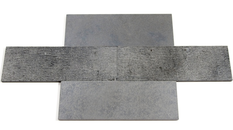 4x12 Basalt Stone Brick Tile, Grey At TileDaily
