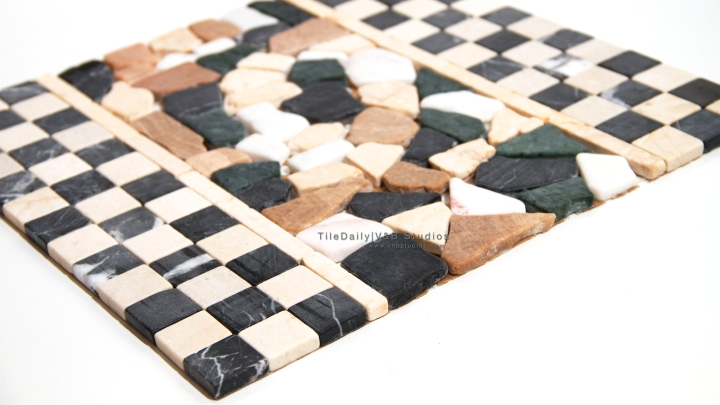 Checkered and Broken Marble Mosaic