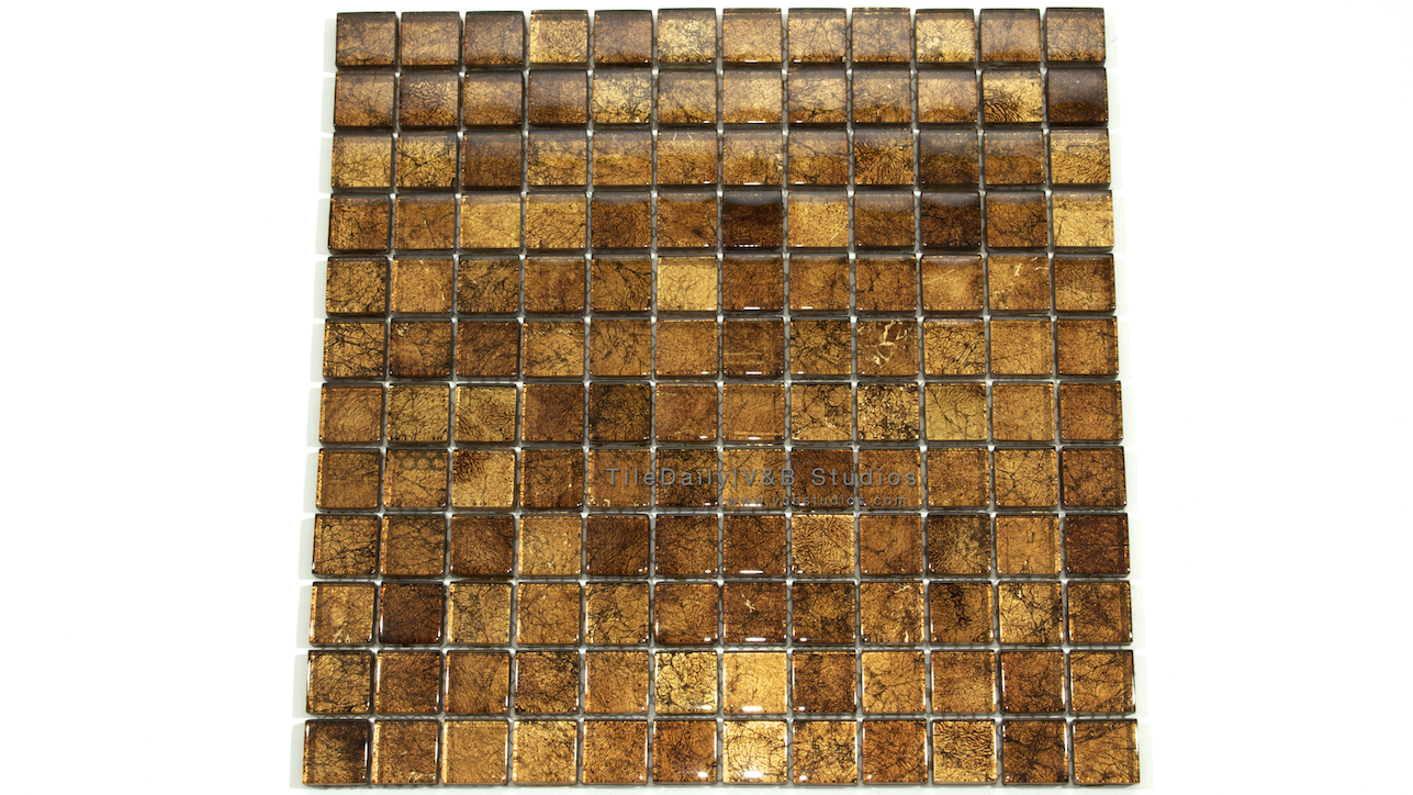 Gold Leaf Square Glass Mosaic Tiledaily