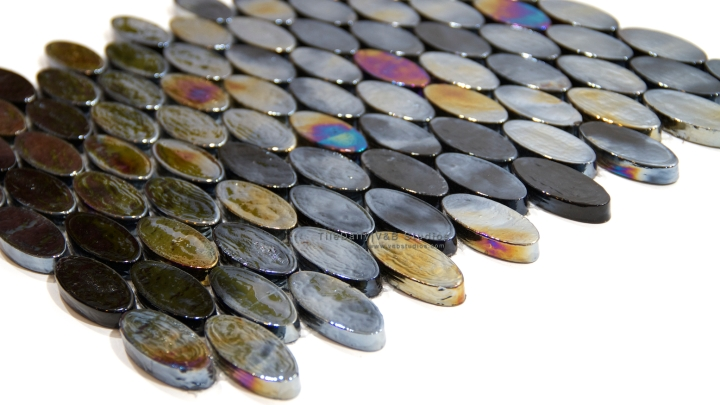Iridescent Black Oval Glass Mosaic