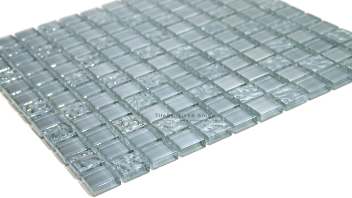 Iridescent Grey Square Glass Mosaic