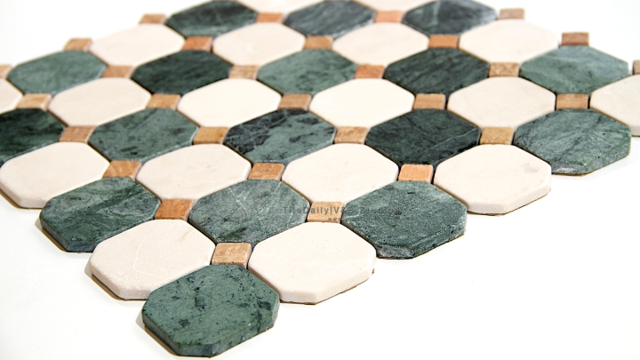 Octagon Marble Mosaic, Green & Cream