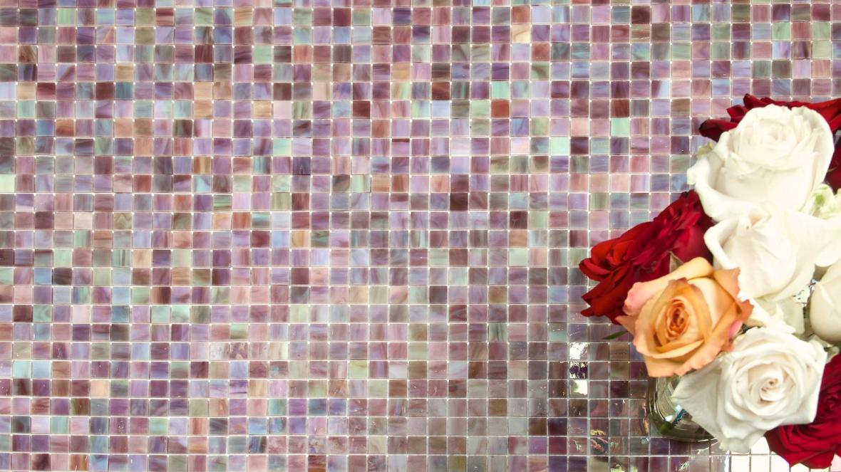 Purple Iridescent Opaque Glass Mosaic, TileDaily 01