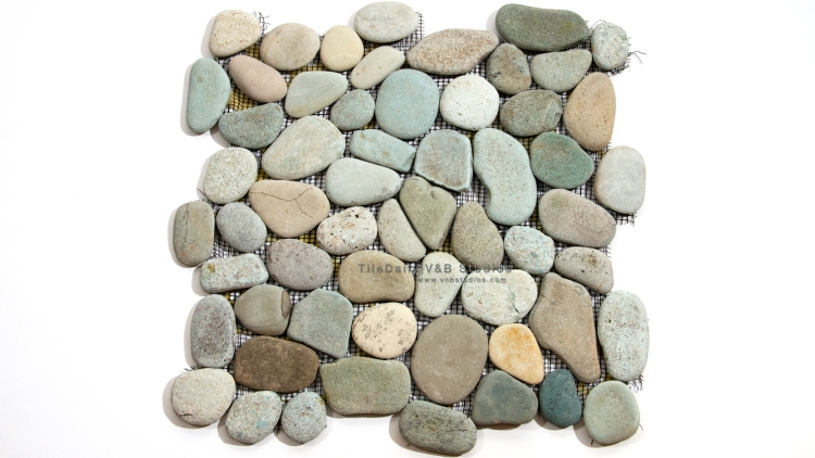 NS0012GN - SPRING MIX NATURAL FLAT PEBBLE MOSAIC