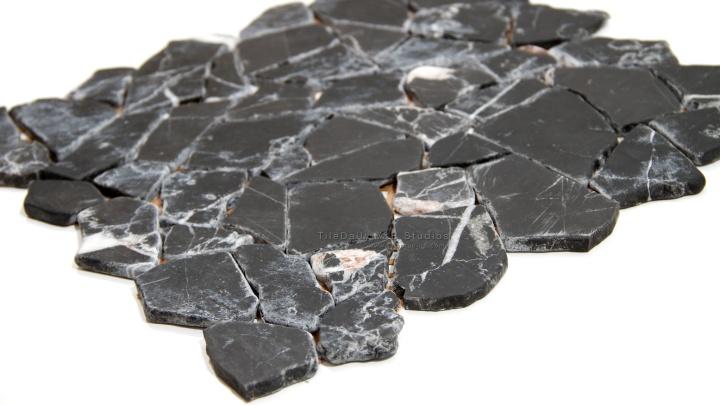 Random Cut Marble Mosaic, Black,White
