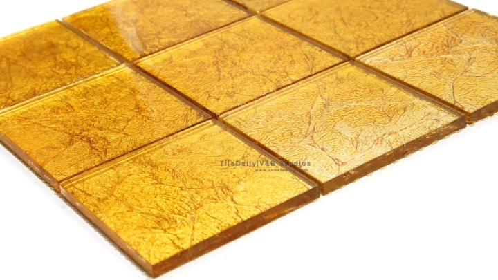 Large Square Gold Foil Glass Mosaic