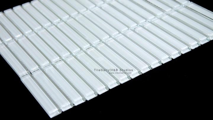 Linear Bars Glass Mosaic,White