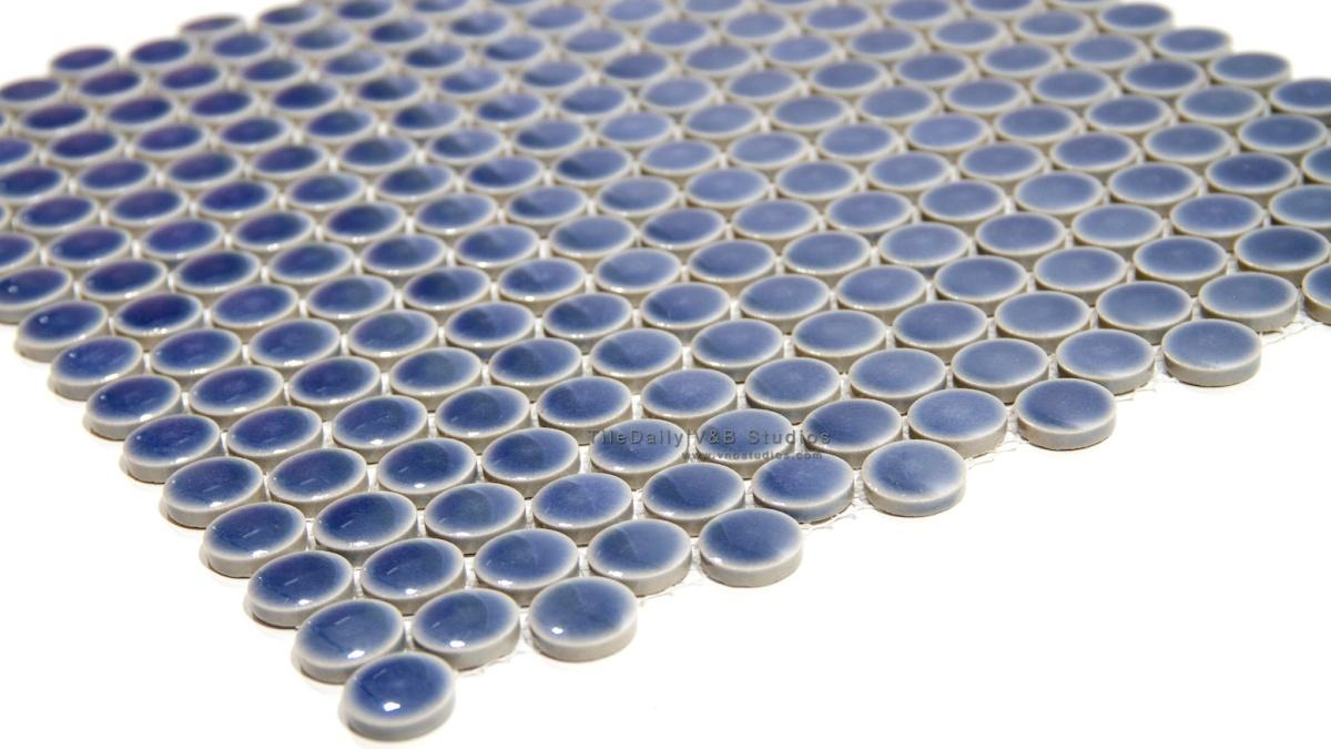 Pale Blue Penny Round Porcelain Mosaic