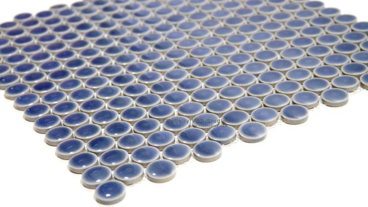 Pale Blue Penny Round PorcelainMosaic