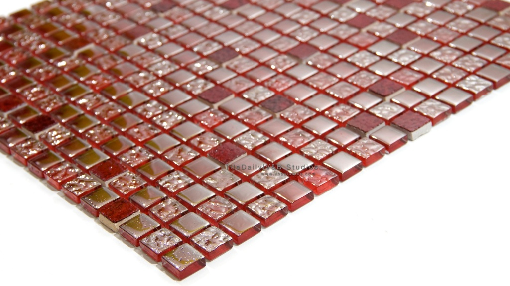 5/8x 5/8 RED WINE IRIDESCENT SQUARES GLASS MOSAIC AT TILEDAILY