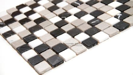 Tumbled Marble Mosaic, Mixed Grey