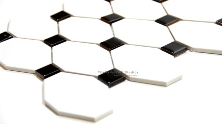 Long Octagon Porcelain Mosaic, Black, White