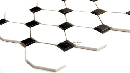 Long Octagon Porcelain Mosaic, Black, White