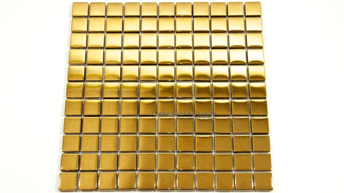 Square Gold Glass Mosaic  tiledaily