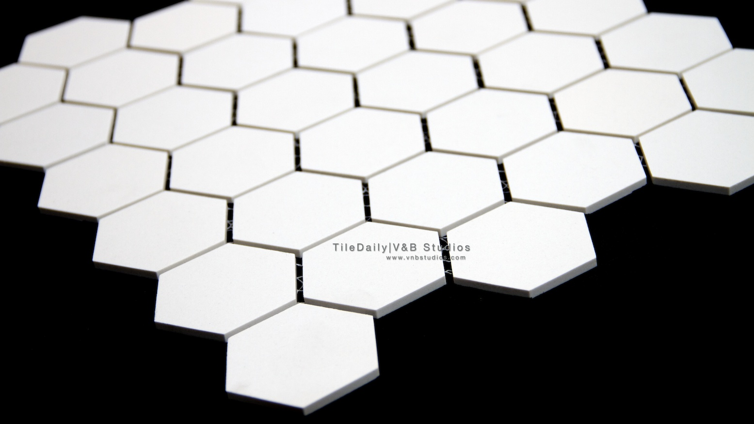 Long Octagon Porcelain Mosaic Black White