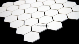 White Hexagon Matte Porcelain Mosaic Tile. Wall & Floor Tile