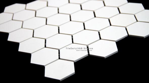 White Hexagon Matte Porcelain Mosaic Tile. Wall & Floor Tile