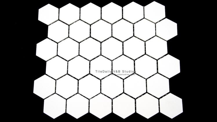 White Unglazed Hexagon Porcelain Mosaic Tile. Wall & Floor Tile