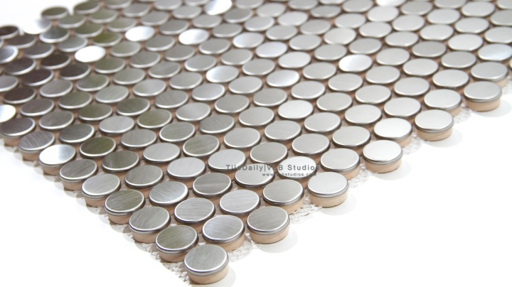 Brushed Steel Penny Round Mosaic